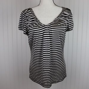 The Limited Striped Short Sleeve Blouse Size Lg